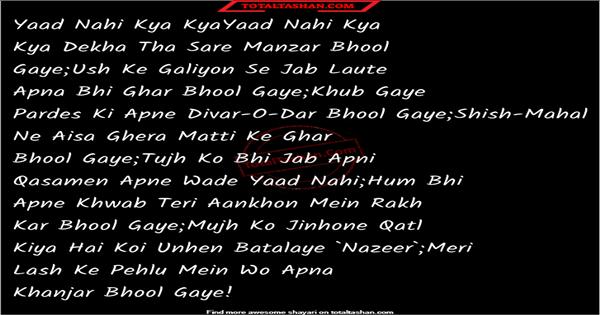 yaad nahi kya kya dekha tha