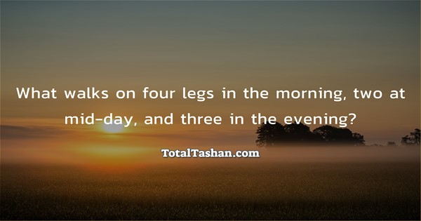 What Walks On Four Legs In The Morning Puzzles And Riddles Messages Total Tashan